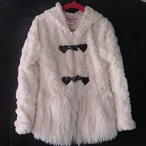 Little Lass Sequin Fur Jacket with Hood
